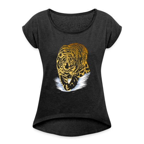 Golden Snow Tiger - Women's Roll Cuff T-Shirt
