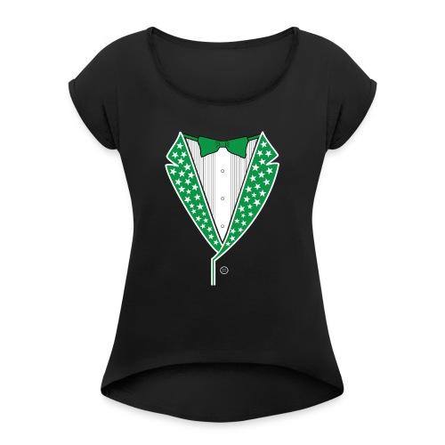 Star Tuxedo in Green PNG - Women's Roll Cuff T-Shirt