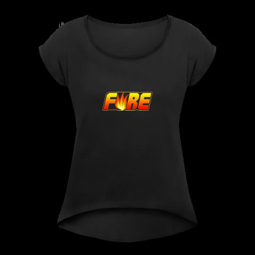 FyRe Logo - Women's Roll Cuff T-Shirt