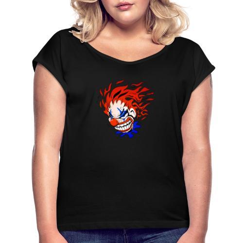 Psycho Crazy Clown Cartoon - Women's Roll Cuff T-Shirt