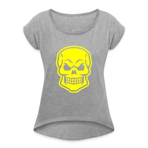 Skull vector yellow - Women's Roll Cuff T-Shirt