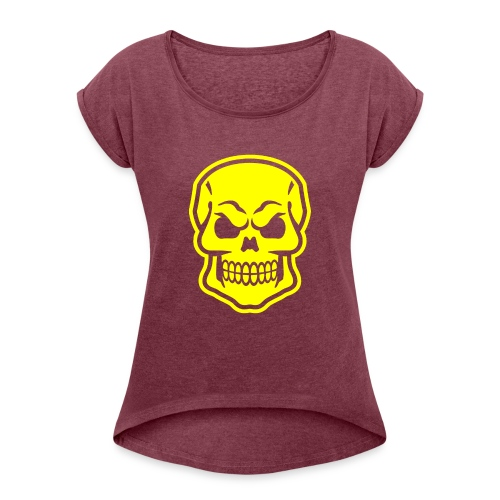 Skull vector yellow - Women's Roll Cuff T-Shirt