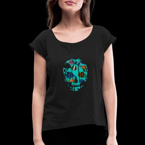 Underwater Skull - Women's Roll Cuff T-Shirt