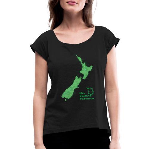 New Zealand's Map - Women's Roll Cuff T-Shirt