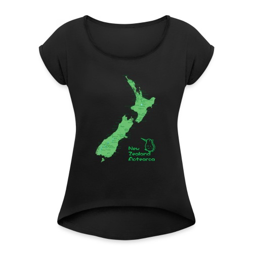 New Zealand's Map - Women's Roll Cuff T-Shirt