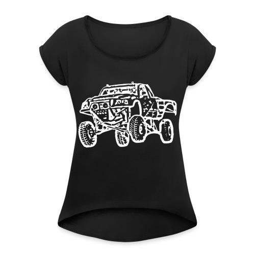 Jump Truck White - Women's Roll Cuff T-Shirt