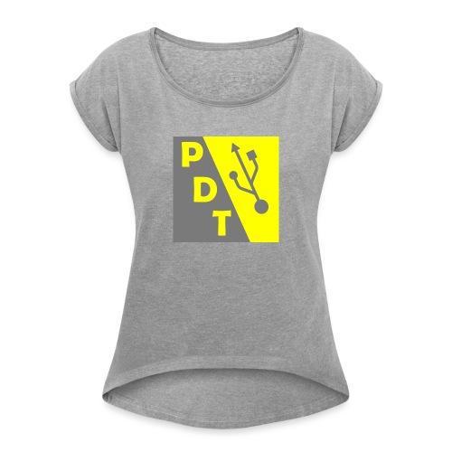 PDT Logo - Women's Roll Cuff T-Shirt