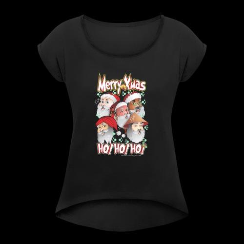 xmastshirtdesignsHoHoHo - Women's Roll Cuff T-Shirt
