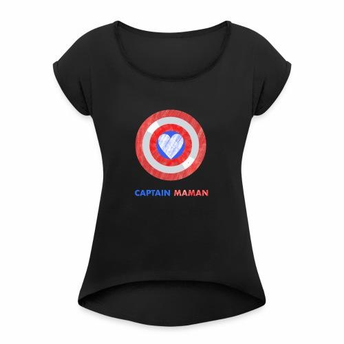 CAPTAIN MAMAN - Women's Roll Cuff T-Shirt
