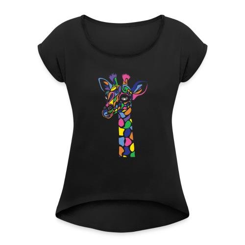 Art Deco giraffe - Women's Roll Cuff T-Shirt