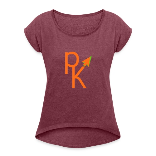 Plusklix Logo - Women's Roll Cuff T-Shirt