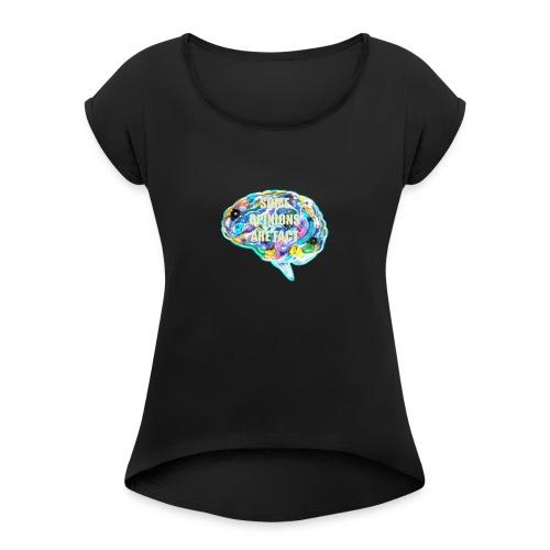 brain fact - Women's Roll Cuff T-Shirt