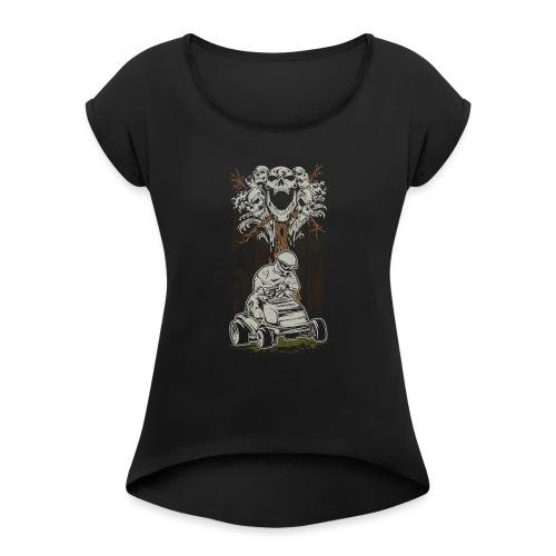 Lawnmower Skull Tree - Women's Roll Cuff T-Shirt