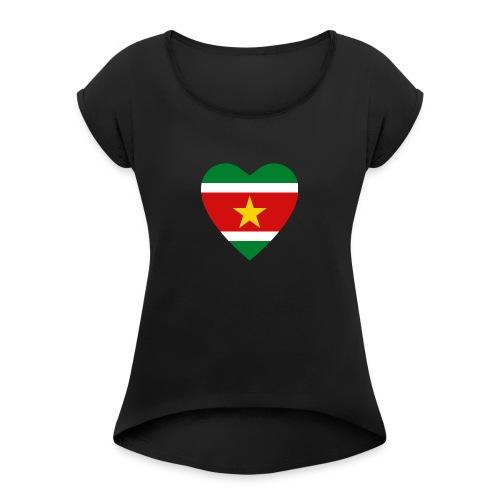 Suriname Flag Heart - Women's Roll Cuff T-Shirt