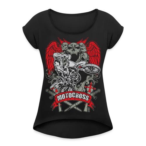 Motocross Extreme Tattoo - Women's Roll Cuff T-Shirt