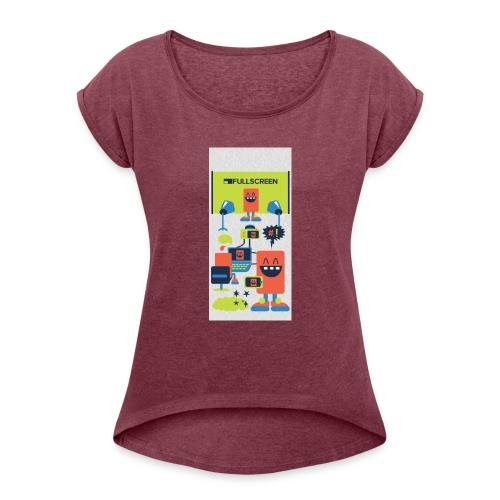 iphone5screenbots - Women's Roll Cuff T-Shirt