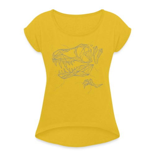 Jurassic Polygons by Beanie Draws - Women's Roll Cuff T-Shirt