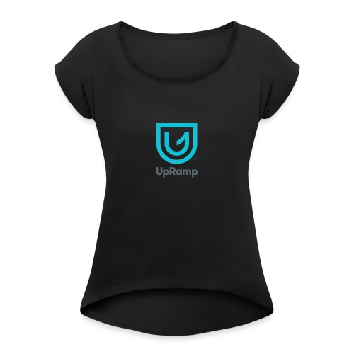 UpRamp Logo Blue Stacked ColorWhite - Women's Roll Cuff T-Shirt