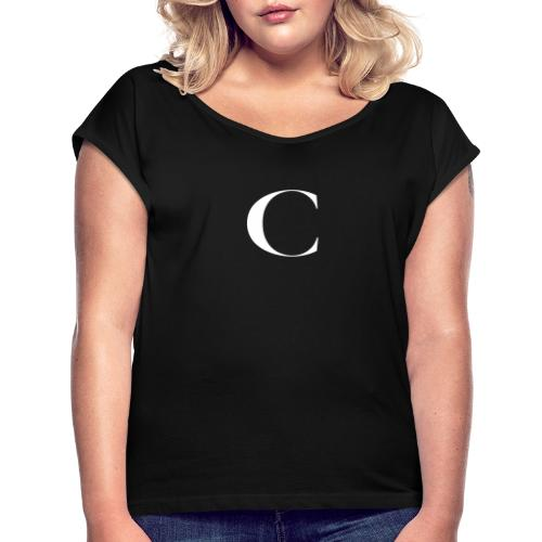 Large Cliche Magazine White C Logo - Women's Roll Cuff T-Shirt