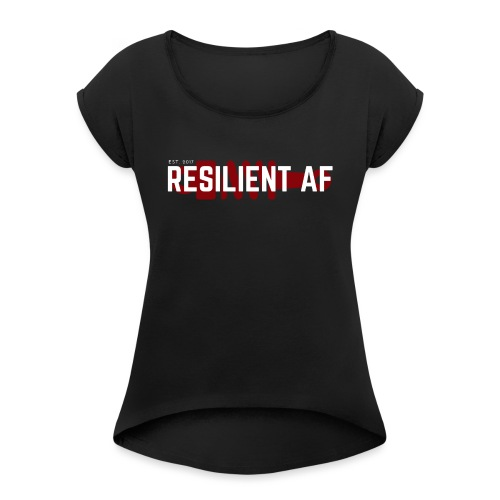RESILIENT WHITE with red - Women's Roll Cuff T-Shirt