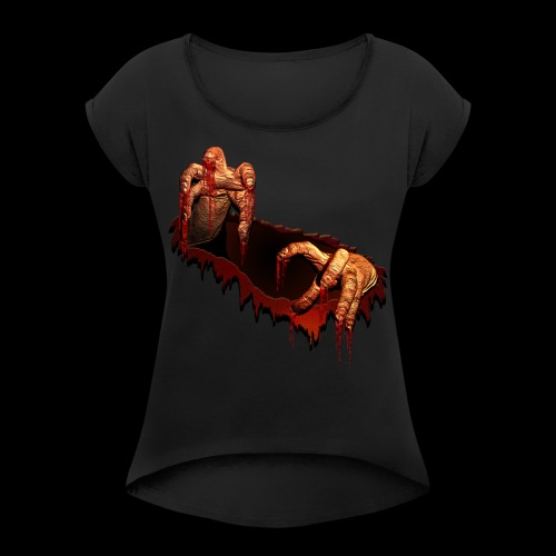 Zombie Shirts Gory Halloween Scary Zombie Gifts - Women's Roll Cuff T-Shirt