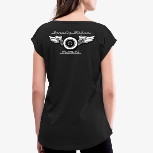 Black Speedy Shine Detail Logo - Women's Roll Cuff T-Shirt