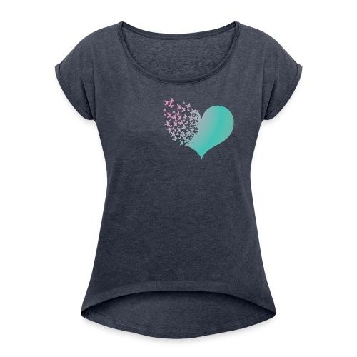 Heart butterflies green and pink - Women's Roll Cuff T-Shirt