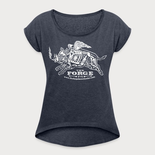 The Forge White Pig 01 - Women's Roll Cuff T-Shirt