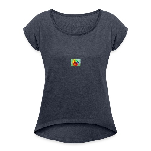 rainbow flower - Women's Roll Cuff T-Shirt