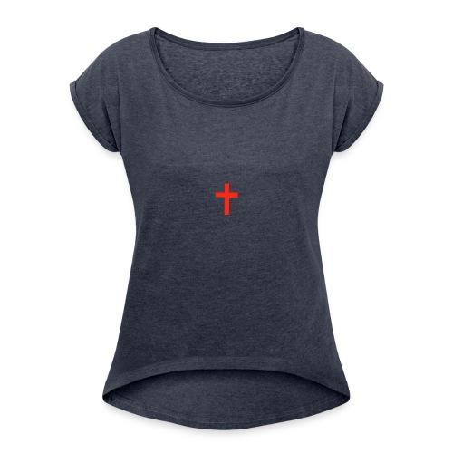 AnGeL's red cross - Women's Roll Cuff T-Shirt