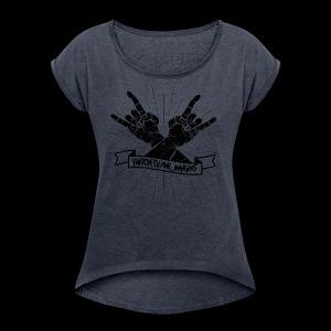 Rock Fists -black - Women's Roll Cuff T-Shirt