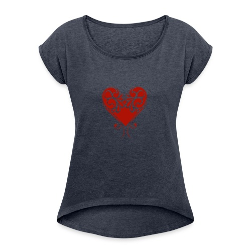 A Splash of Love Heart Design Baby One Piece - Women's Roll Cuff T-Shirt