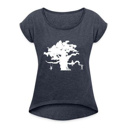 WD icon white - Women's Roll Cuff T-Shirt