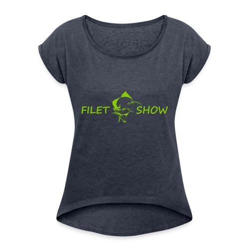 Green_logo_for_shirts - Women's Roll Cuff T-Shirt