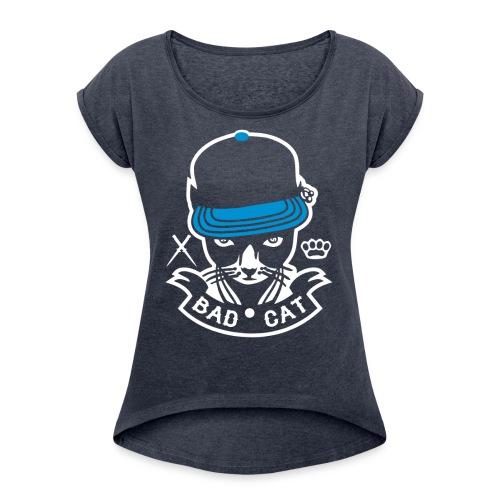 Bad Cat Geddo Cat - Women's Roll Cuff T-Shirt