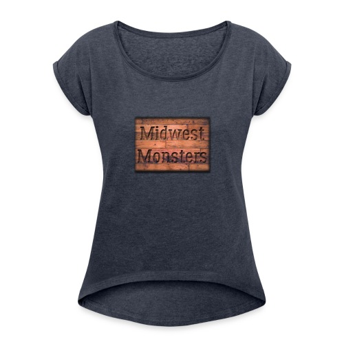 Midwest Monsters Wood Logo - Women's Roll Cuff T-Shirt