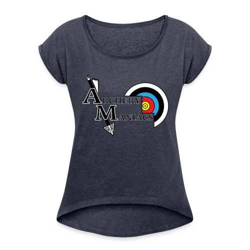 Archery Maniacs White Outline - Women's Roll Cuff T-Shirt