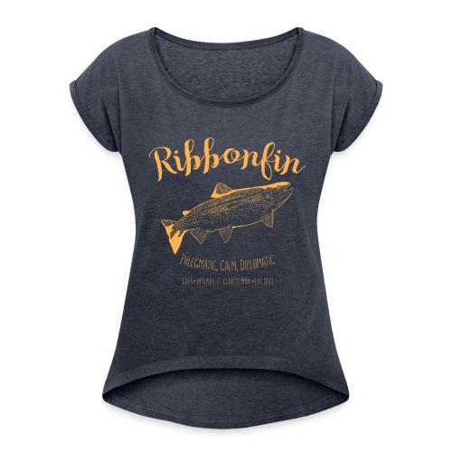 Ribbonfin House (copper) - Women's Roll Cuff T-Shirt