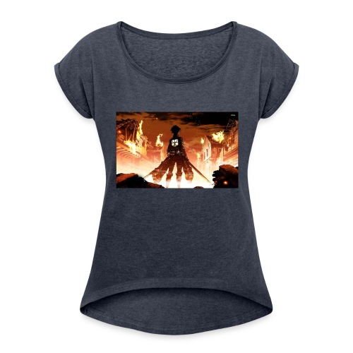 Attack of the titan - Women's Roll Cuff T-Shirt