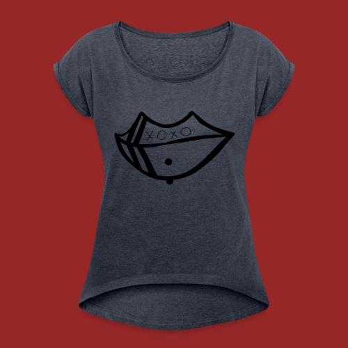pierced lip - Women's Roll Cuff T-Shirt