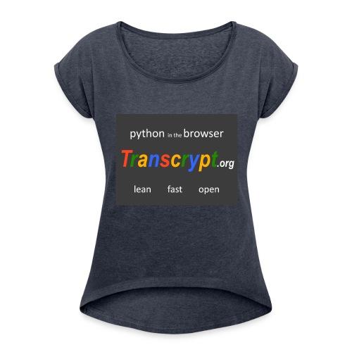 Transcrypt Logo - Women's Roll Cuff T-Shirt