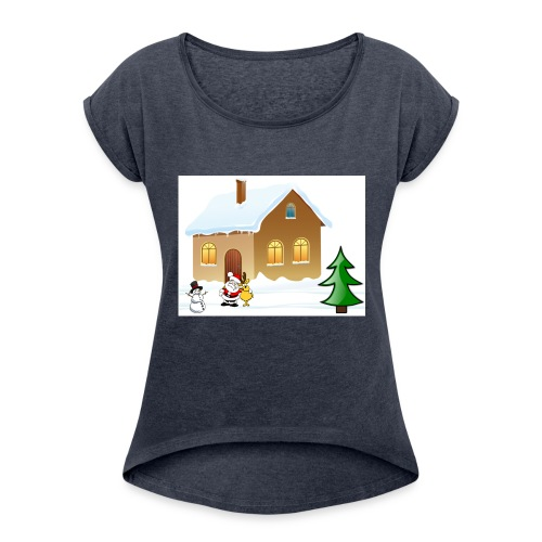 Marry_Christmas - Women's Roll Cuff T-Shirt