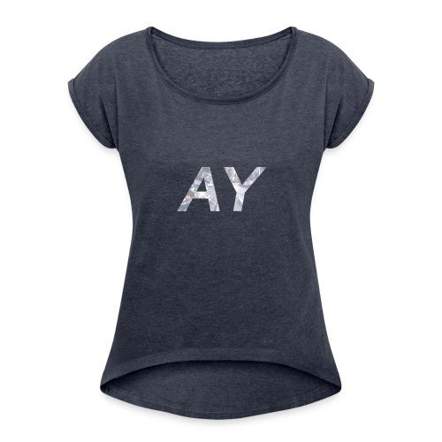 Ay White Diamond - Women's Roll Cuff T-Shirt