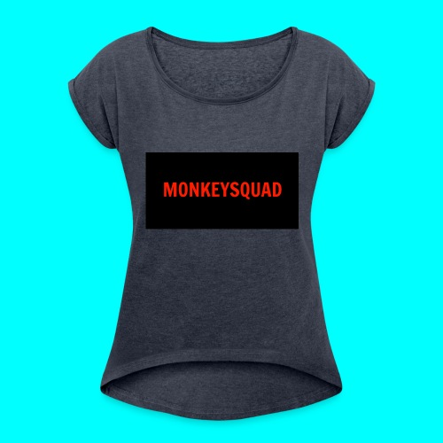 MonkeySquad logo - Women's Roll Cuff T-Shirt