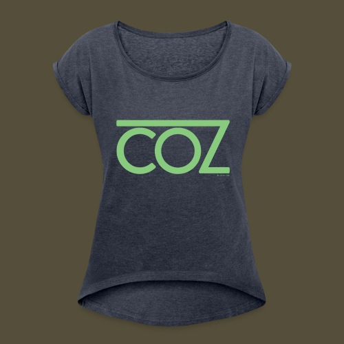 coz_logo_lightgreen - Women's Roll Cuff T-Shirt