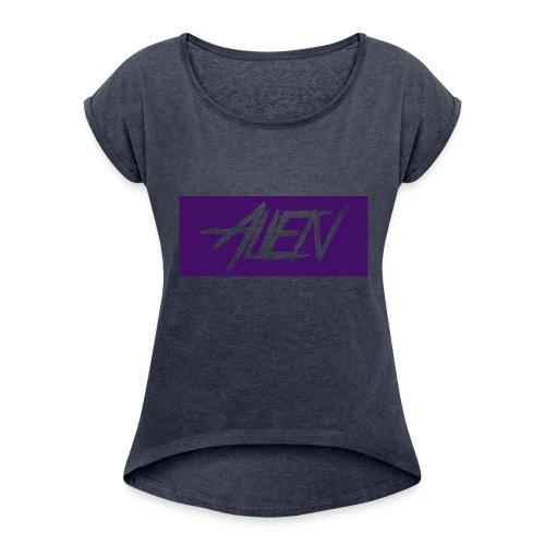 Alien-word-logo - Women's Roll Cuff T-Shirt