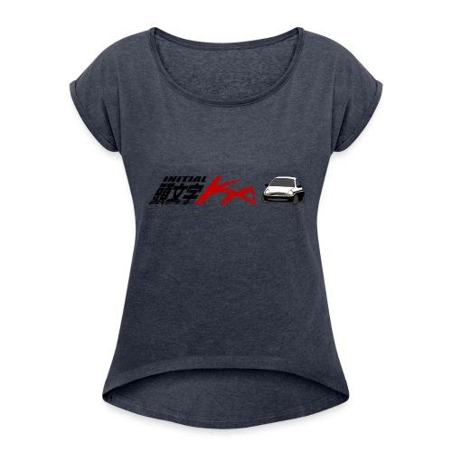 Initial Ka (Black writing) - Initial D parody - Women's Roll Cuff T-Shirt