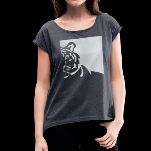 White tiger - Women's Roll Cuff T-Shirt