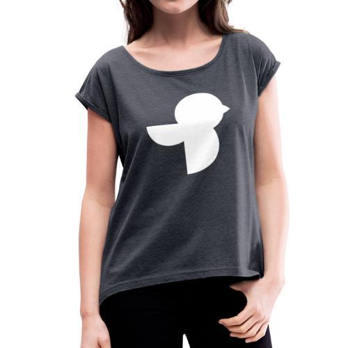 The White Sailea Logo - Women's Roll Cuff T-Shirt