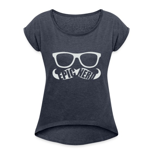 White Epic Nerd Logo - Women's Roll Cuff T-Shirt